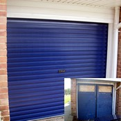 Steel Roller Garage Door Navy Blue – Before & After!