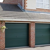 Twin Steel Roller Doors in Juniper Green